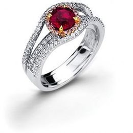 Exquisite Simon G. Ruby and Diamond Ring