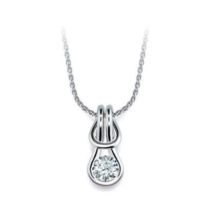 Everlon Diamond Knot Necklace in Sterling Silver