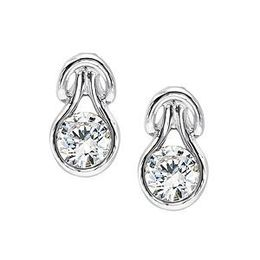 Everlon Diamond Knot Earrings in 10Kt White Gold