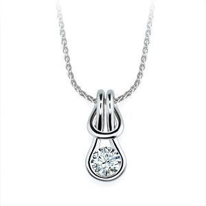 Everlon Diamond Knot Necklace in 14k White Gold