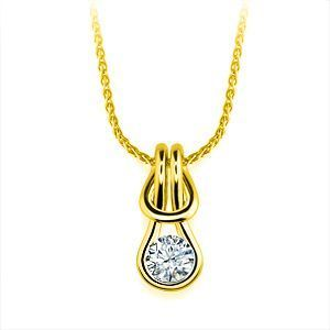 Everlon Diamond Knot Necklace 14k Yellow Gold