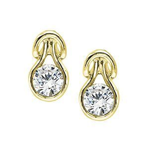 Lovely Everlon Diamond Knot Earrings 14k Yellow Gold