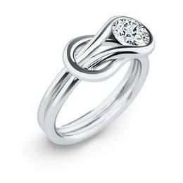 Elegant Everlon Diamond Knot Ring in 10k White Gold
