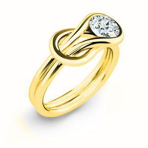 Stunning Everlon Diamond Knot Ring 10k Yellow Gold