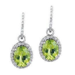 Oval Peridot and Diamond Earrings