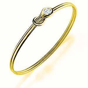 10K Yellow Gold Everlon Diamond Knot Bracelet