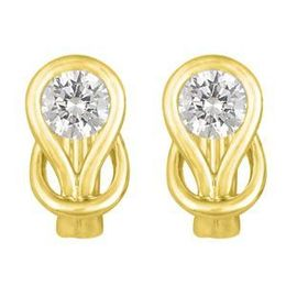 Beautiful Everlon Diamond Knot Earrings 14k Yellow Gold