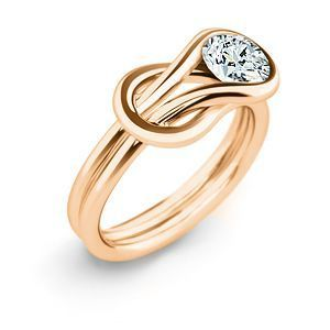 Everlon Diamond Knot Ring in 14k Rose Gold