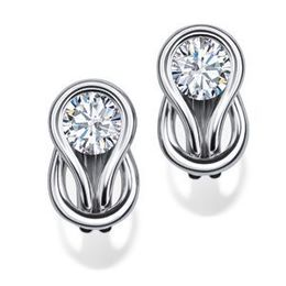 Dazzling Everlon Diamond Knot Earrings 10k White Gold