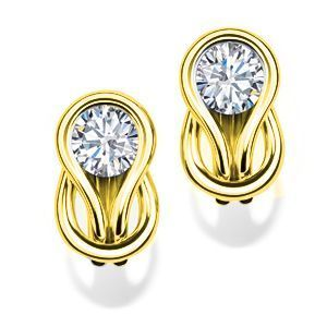 Everlon Diamond Knot Earrings in 10k Yellow Gold