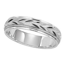 Lieberfarb Wedding Band with Leaf Pattern