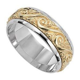 Lieberfarb Two-Tone Gold Wedding Band