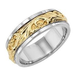 Stylish Two-Tone Gold Lieberfarb Wedding Band