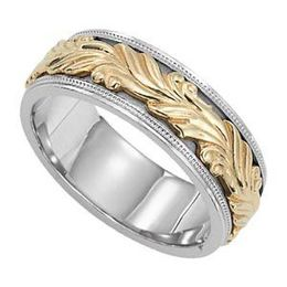 Fancy Two-Tone Gold Lieberfarb Wedding Band
