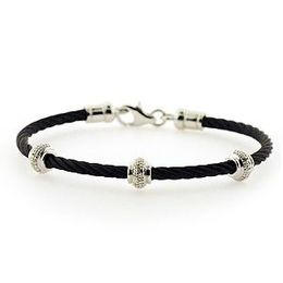 Stylish Silver Diamond and Black Steel Bracelet