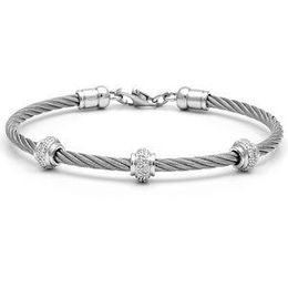 Silver Diamond and Plain Steel Bracelet