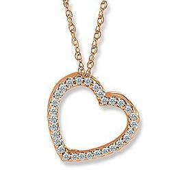 Lovely Rose Gold Diamond Heart Pendant