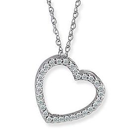 Stunning Diamond Heart Pendant 10k White Gold