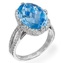 Exquisite Zeghani Blue Topaz and Diamond Ring