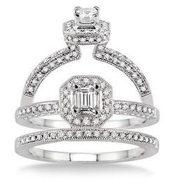 Beautiful Octagon Cut 5/8 Carat Diamond Bridal Set
