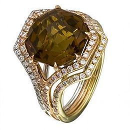 Gorgeous Zeghani Three-tone Coniac Ring