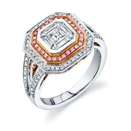 Simon G 18k Two-Tone Gold and Diamond Mosaic Ring