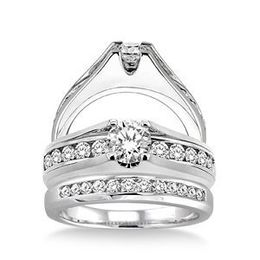Lovely 3/4 Carat Diamond Wedding Set 14k White Gold