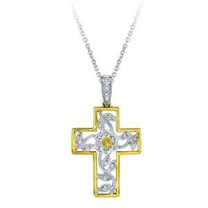 Simon G. Fancy Two-Tone Gold and Diamond Cross