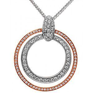 Simon G 18k White and Rose Gold Dual Circle Pendant