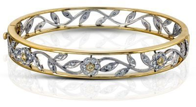 Simon G. Floral Design Diamond Bangle Bracelet