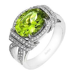 Elegant Simon G Peridot and Diamond Fashion Ring