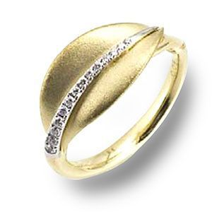 Simon G Two Tone Diamond Leaf Ring