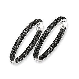 34mm Black Diamond Hoop Earrings 14k White Gold