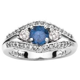 1 Carat Total Weight Blue Diamond Engagement Ring