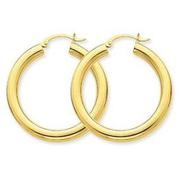 14k Yellow Gold Hoop Earrings Tube 4mm x 35mm