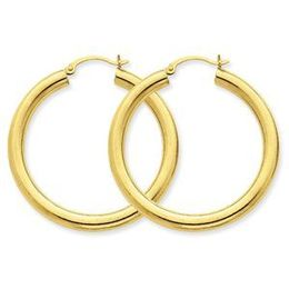 14k Yellow Gold Hoop Earrings Tube 4mm x 40mm