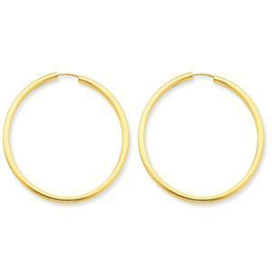 Exquisite 14k Yellow Gold Endless Hoop Earrings