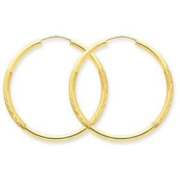 Exquisite Diamond Cut 14k Yellow Gold Hoop Earring