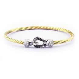 Yellow Stainless Steel Bracelet Black and White Diamond