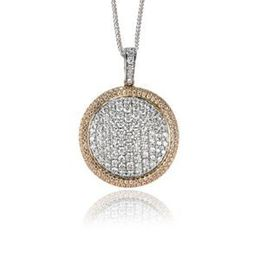 Simon G Diamond Pendant Two Tone White And Rose Gold