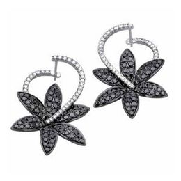 Simon G Black And White Diamond Flower Earrings