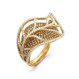 Stunning Simon G Diamond Leaf Fashion Ring