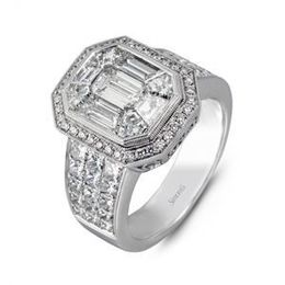 Alluring Simon G Mosaic Diamond Engagement Ring
