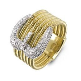 Stylish Two Tone Simon G Buckle Ring