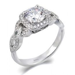 Simon G Diamond Engagement Ring with Marquise Sides