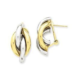 14k Two Tone Swirl Omega Back Post Earrings