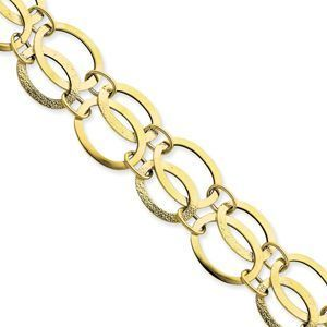 14k Fancy Link Polished and Textured Bracelet