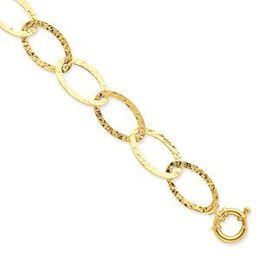 14k Yellow Gold Fancy Link Textured Bracelet