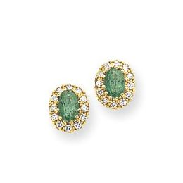 14k 6x4mm Oval Emerald and Diamond Earrings