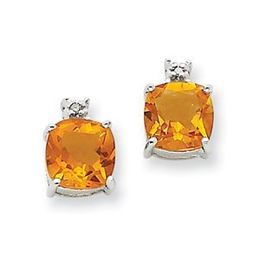 14k White Gold Citrine and Diamond Post Earrings